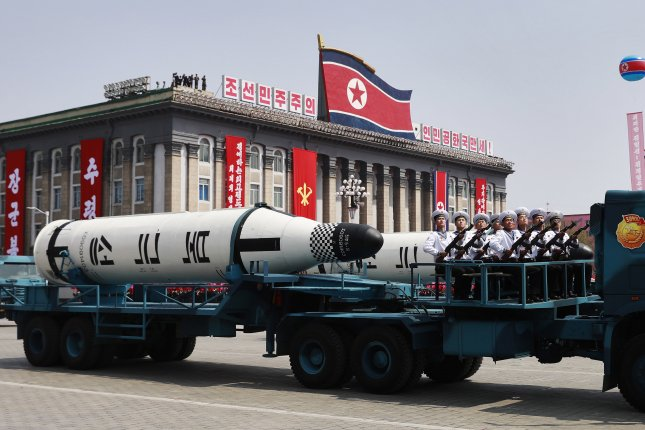 Satellite imagery revealed a probable missile launcher vehicle during preparations for a parade in North Korea, according to analysis by website 38 North. File Photo by How Hwee Young/EPA