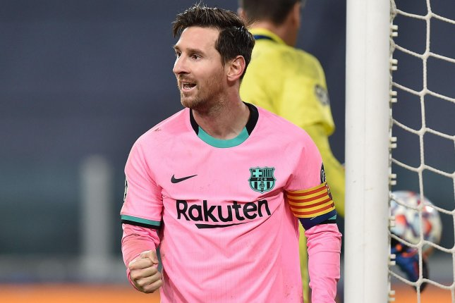 Barcelona's Lionel Messi scored on a stoppage time penalty kick during a UEFA Champions League win over Juventus on Wednesday in Turin, Italy. Photo by Alessandro Di Marco/EPA-EFE
