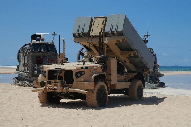 The U.S. Marines Crops tests out its Navy Marine Expeditionary Ship Interdiction System anti-ship missile system at Pacific Missile Range Facility Barking Sands, in Hawaii, on Aug. 16. Photo by U.S. Marine Corps Maj. Nick Mannweiler