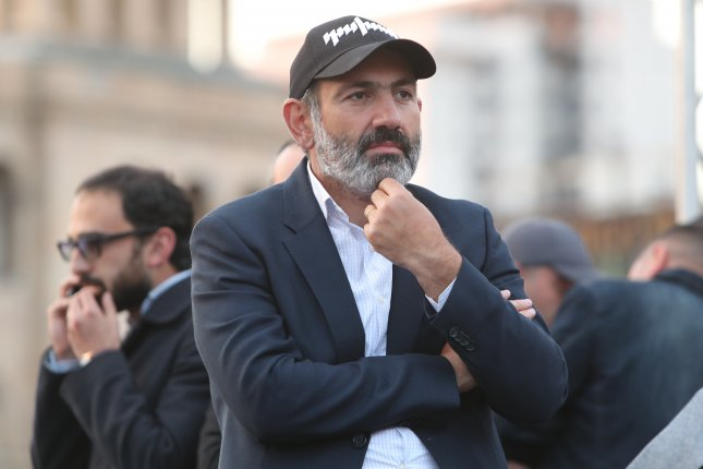 Armenian opposition leader Nikol Pashinyan was elected by lawmakers Tuesday to become the nation's next prime minister, a bid that has been underway for weeks. Photo by Zurab Kurtsikdze/EPA-EFE