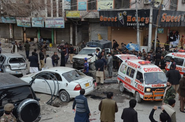 Pakistani security officials inspect the scene of a bomb blast in Quetta, Pakistan, on Monday. Photo by Jamal Taraqai/EPA-EFE