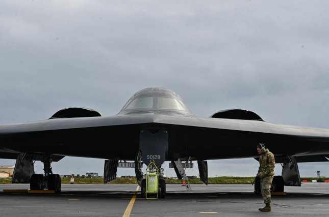 Staff Sgt. Ian Simms prepares a B-2 Spirit stealth bomber for departure from Keflavik Air Base, Iceland, on Wednesday, ahead of stealth bombers integrating with Royal Norwegian Air Force F-35A Lightning II aircraft to enhance bomber interoperability with partners and allied nations. Photo by Airman 1st Class Victoria Hommel/U.S. Air Force