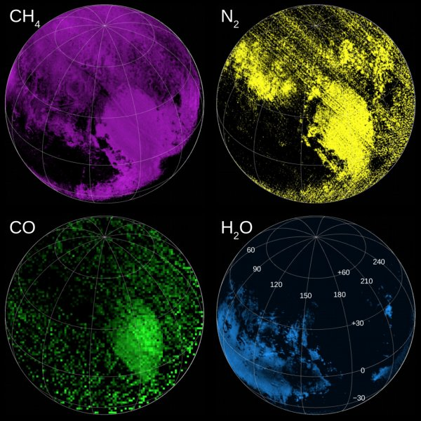 Maps assembled using data from the Ralph instrument indicate regions rich in methane, nitrogen, carbon monoxide and water ices. Scientists combined these data with Rosetta's comet 67P data to develop a proposed giant comet model for Pluto formation. Photo by NASA/Johns Hopkins University Applied Physics Laboratory/Southwest Research Institute