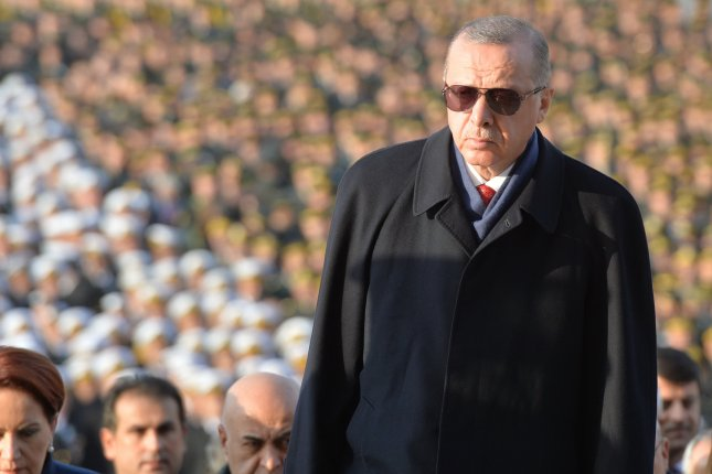 Turkish President Recep Tayyip Erdogan visits the Mausoleum of Mustafa Kemal Ataturk during a ceremony Satrday marking the 80th death anniversary of Mustafa Kemal Ataturk, the founder of modern Turkey. Erdogan later left for World War I commemorations in France. Photo by EPA