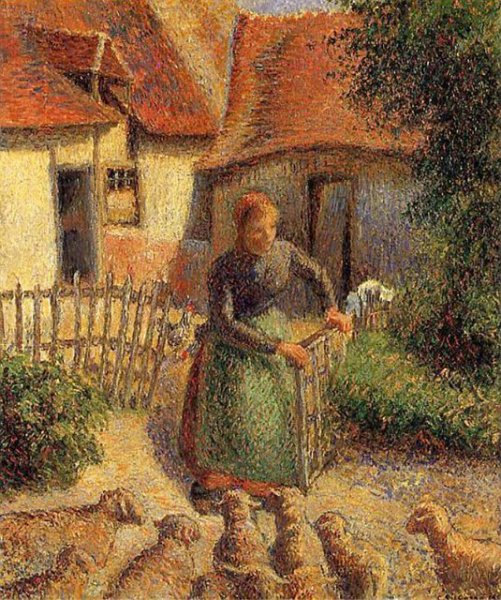 La Bergère Rentrant des Moutons (Shepherdess Bringing Sheep in) by Camille Pissarro is currently on view at Paris' Musée d'Orsay. File Image courtesy of the University of Oklahoma's Fred Jones Jr. Museum of Art