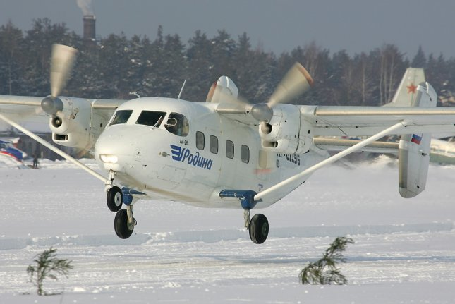 A Russian Antonov An-28 aircraft, such as the one pictured here, crashed Friday in Siberia with 18 people aboard. File photo by Dmitriy Pichugin/Wikimedia Commons