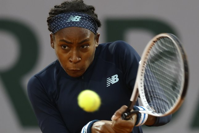Cori Coco Gauff beat Johanna Konta in the first round match of the French Open on Sunday at Roland Garros in Paris. Photo by Ian Langsdon/EPA-EFE