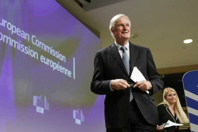 European Union chief Brexit negotiator Michel Barnier speaks to reporters Thursday in Brussels, Belgium, at the start of a negotiation summit. Photo by Olivier Hoslet/EPA-EFE