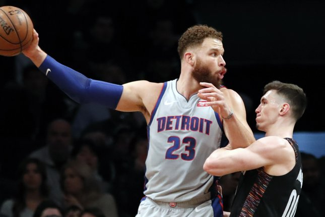 Detroit Pistons forward Blake Griffin (23) is averaging 12.3 points and 5.2 rebounds over 20 games this season. File photo by Jason Szenes/EPA-EFE