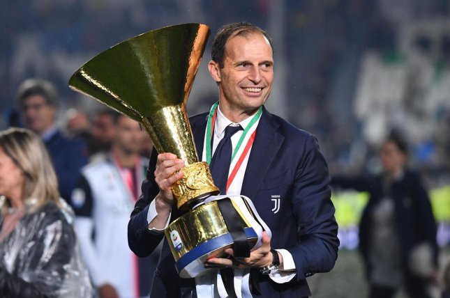Massimiliano Allegri, who won five-consecutive Serie A titles with Juventus from 2014 to 2019, was hired Friday for his second tenure as manager of the Italian soccer team. Photo by Andrea Di Marco/EPA-EFE