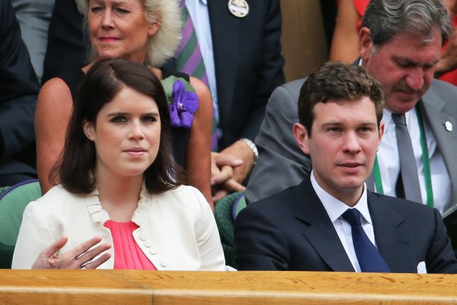 Princess Eugenie (L) and Jack Brooksbank will say their vows Oct. 12 at St. George's Chapel at Windsor Castle. File Photo by Tatyana Zenkovich/EPA