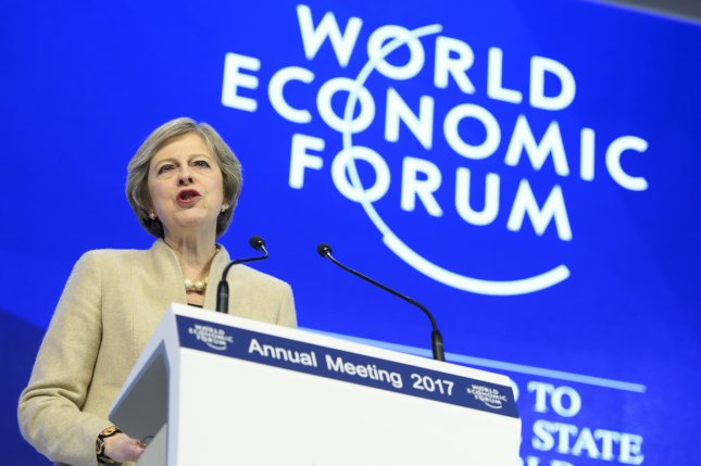 Former British Prime Minister Minister Theresa May speaks at the World Economic Forum in Davos, Switzerland, on January, 19, 2017. The 2021 event has been postponed for at least a few months, the forum said Wednesday. File Photo by Laurent Gillieron/EPA
