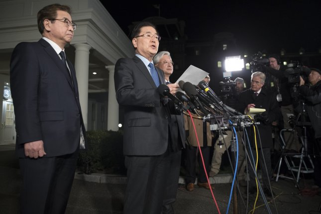 South Korean Foreign Minister nominee Chung Eui-yong (C) denied Seoul proposed a nuclear power plant in the North, a day after South Korea's energy ministry released a document outlining a proposal. File Photo by Michael Reynolds/EPA-EFE