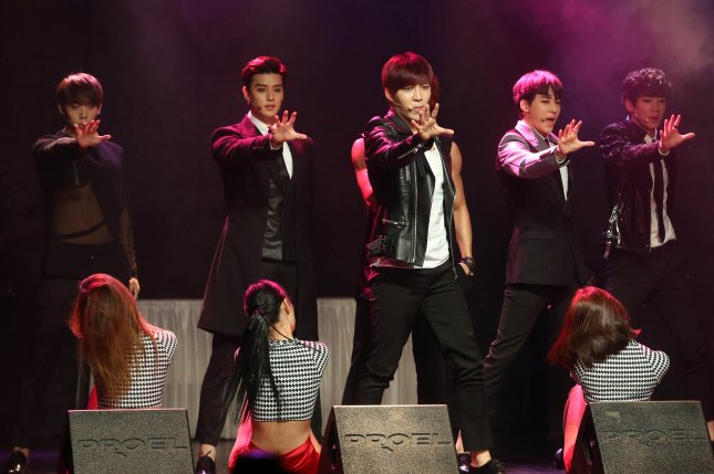 U-Kiss performs at a showcase for the album Mono Scandal in Seoul, South Korea, on June 2, 2014. Kiseop was hospitalized Wednesday after being injured on the set of a music video. File Photo by Yonhap News Agency/EPA