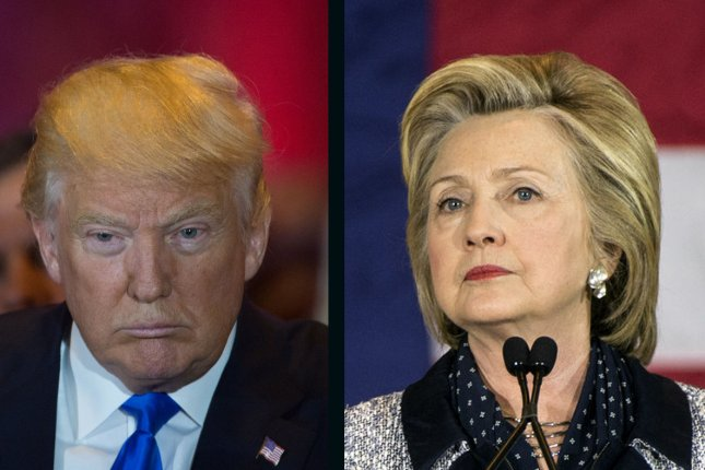 Hillary Clinton holds a 2.9 percentage point lead over Donald Trump in a UPI/CVoter poll released Monday. UPI File Photo