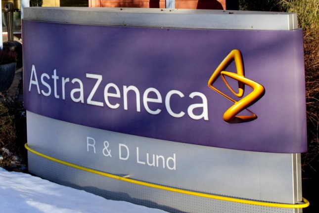 Drugmaker AstraZeneca said the new trial, which will involve dozens of healthy participants in Britain, is funded by the U.S. departments of Defense and Health and Human Services.File Photo by Drago Prvulovic/EPA