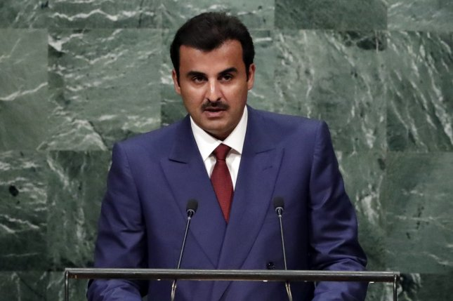 Emir of the state of Qatar Sheik Tamim bin Hamad al-Thani addresses the general debate of the 71st Session of the United Nations General Assembly at U.N. headquarters in New York City on September 20. Neighboring Arab nations began an economic and political boycott of Qatar in early June, and Friday presented Qatar with a list of demands to end the crisis. File Photo by Jason Scenes/EPA