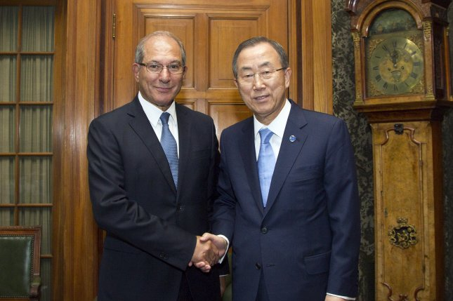 United Nations Secretary-General Ban Ki Moon meets with Mr. Ahmet Üzümcü, Director General of the Organisation for the Prohibition of Chemical Weapons (OPCW) on August 28, 2013 at the Hague, Netherlands. (UPI/UN/Rick Bajornas)