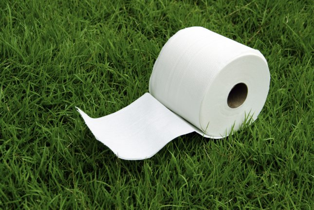 A roll of toilet paper in the grass. Photo by intararit/Shutterstock.com