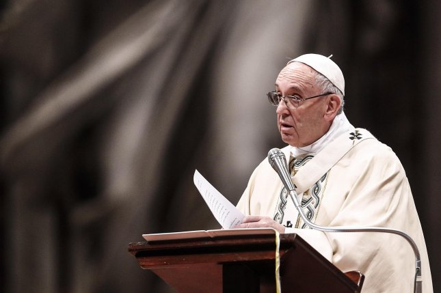 Pope Francis at a Vatican conference Friday urged government officials to take care of the environment or the Earth could turn into a pile of rubble. Photo by Guiseppe Lami/EPA_EFE