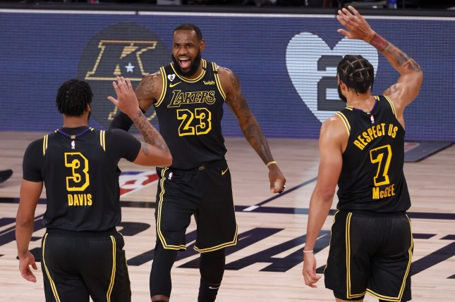 The Los Angeles Lakers hold a 4-0 record this postseason when wearing the all-black uniforms. File Photo by John G. Mabanglo/EPA-EFE