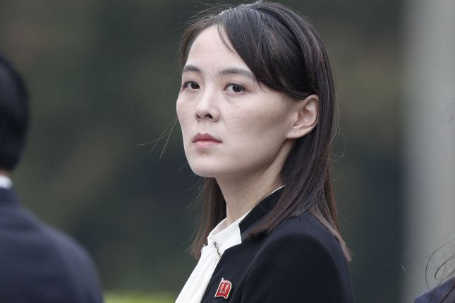 Kim Jong Un's powerful sister, Kim Yo Jong, was not on a list for Pyongyang's Politburo or a roster for the Workers' Party's Executive Policy Bureau on Monday. File Photo by Jorge Silva/EPA-EFE
