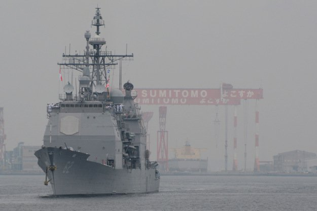The Ticonderoga-class guided-missile cruiser USS Chancellorsville arrives at Commander Fleet Activities Yokosuka to join the forward deployed naval forces deployed to Japan. Photo by Mass Communication Specialist 2nd Class Peter Burghart/U.S. Navy