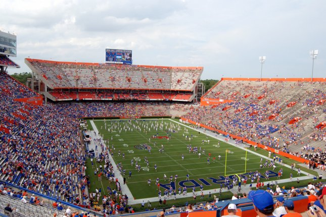 Ben Hill Griffin Stadium, also known as The Swamp, home of Florida Gators football. The Gators, LSU Tigers football game has been postponed on Saturday due to Hurricane Matthew. Photo by Bill Ragan/Shutterstock