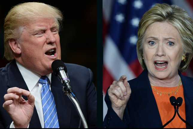 Hillary Clinton leads Donald Trump by about 1 percentage point in the new UPI/CVoter tracking poll, according to data released Saturday. UPI file photos