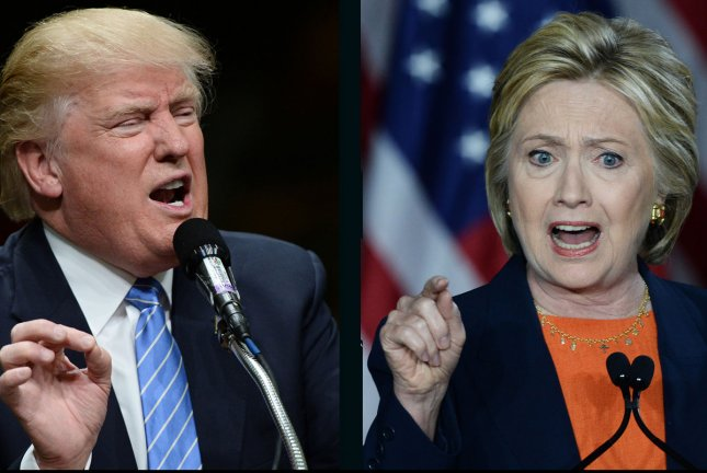 Donald Trup leads Hillary Clinton by 1 percentage point in Saturday's UPI/CVoter daily presidential tracking poll. UPI file photos