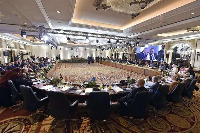 Foreign ministers of Arab countries meet at the Arab Economic and Social Development Summit in Beirut, Lebanon, Friday. Photo by Wael Hamzeh/EPA-EFE