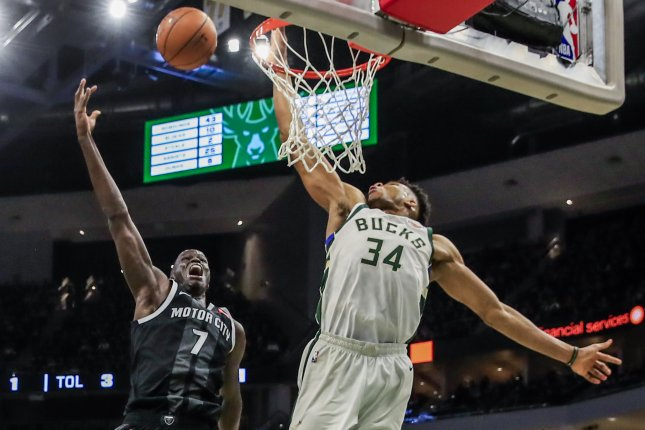 Milwaukee Bucks forward Giannis Antetokounmpo blocked a shot by Detroit Pistons star Thon Maker after also dunking on the big-man during a playoff win on Wednesday in Milwaukee. Photo by Tannen Maury/EPA-EFE