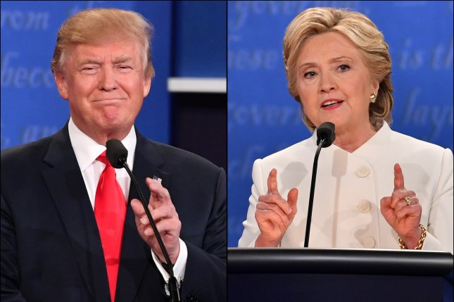 Presidential candidates Donald Trump and Hillary Clinton are nearly tied in the UPI/CVoter online daily tracking poll with one week to go before the election. UPI File Photo