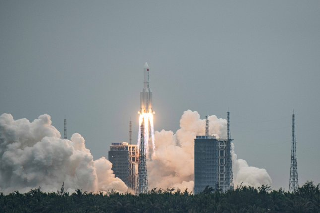 The Long March 5B rocket, carrying China's Tianhe space station core module, lifts off from the Wenchang Spacecraft Launch Site in Hainan Province, China, on Thursday. Photo by Matjaz Tancic/EPA-EFE