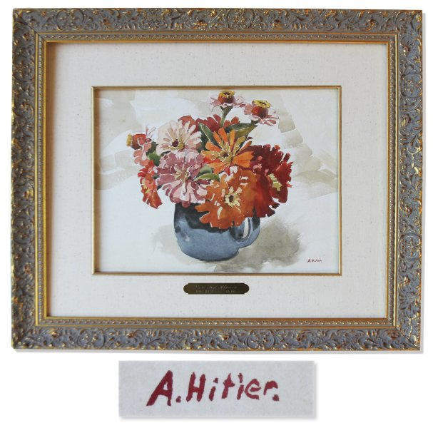 A watercolor painting of flowers in a blue pitcher purported to be by Adolf Hitler was slated to go to auction this week, but the auction house withdrew the item. Image courtesy of Nate D. Sanders auction house