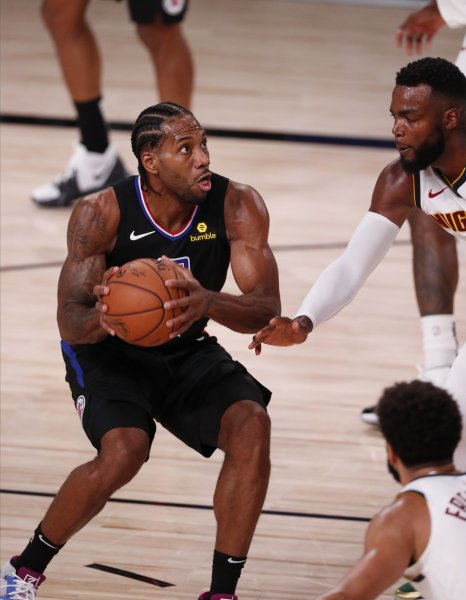 Los Angeles Clippers forward Kawhi Leonard held his squad lead by as many as 29 points in a dominant playoff win over the Denver Nuggets Thursday in Orlando, Fla. Photo by Erik S. Lesser/EPA-EFE