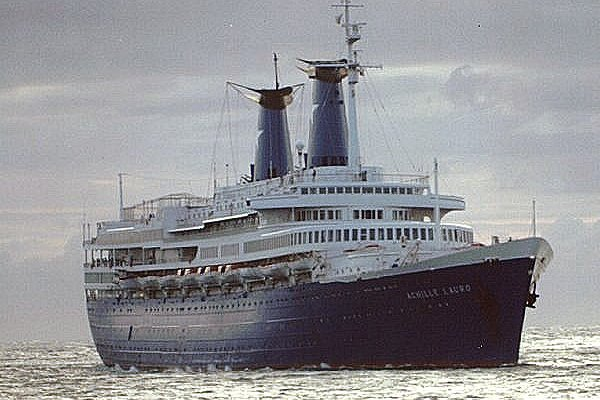 On October 7, 1985, Palestinian terrorists hijacked the Italian cruise ship Achille Lauro, pictured in 1986 or 1987, after it left Alexandria, Egypt, killing one American. File Photo by D.R. Walker/Wikipedia
