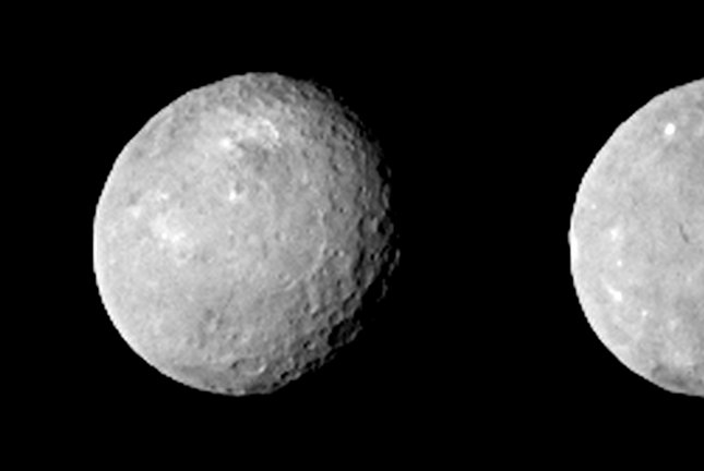 New observations have revealed the presence of sulfur, sulfur dioxide and graphitized carbon on the dwarf planet Ceres. Photo by UPI/NASA/JPL-Caltech/UCLA/MPS/DLR/IDA