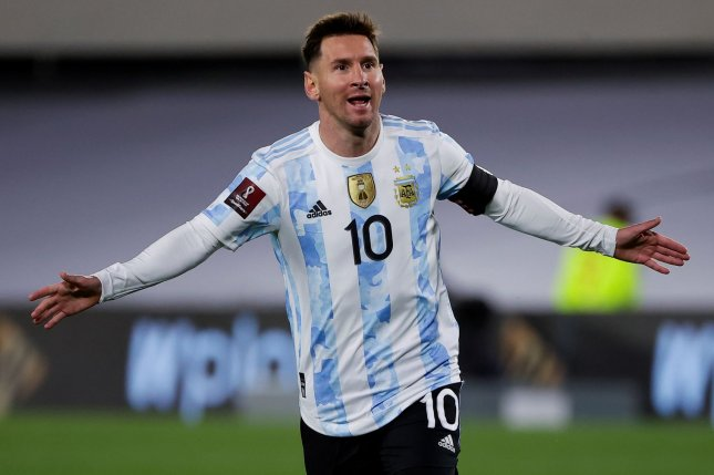 Argentina's Lionel Messi scored in the 14th, 64th and 88th minutes of a 3-0 win over Bolivia on Thursday in Buenos Aires, Argentina. Photo by Juan Ignacio Roncoroni/EPA-EFE