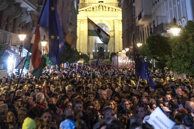 Protesters rally at an event called 'We Stand With CEU' in downtown Budapest, Hungary, on October 26. Zsolt Szigetvary/EPA-EFE