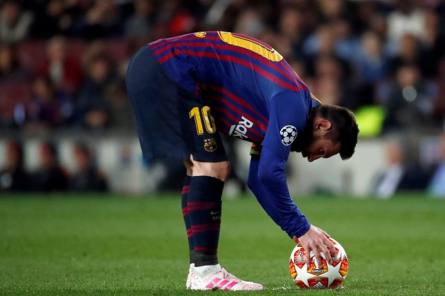 Barcelona's Leo Messi scored on a deep free kick for his team's third goal in a win against Liverpool in the Champions League semifinals on Wednesday in Barcelona. Photo by Alberto Estevez/EPA-EFE
