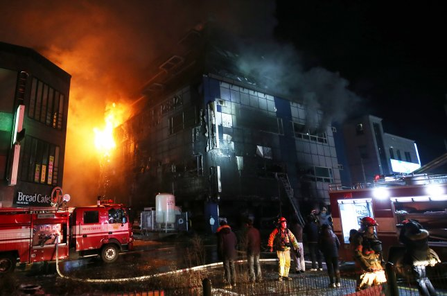 At least 29 people were killed and 26 more were injured when a fire engulfed an eight-story building in South Korea on Thursday. Photo by Yonhap/EPA