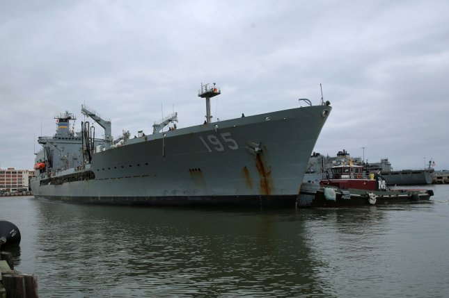 Military Sealift Command's fleet replenishment oiler USNS Leroy Grumman pulls into Naval Station Norfolk Feb. 4 after completing an overseas deployment in support of Naval and allied forces. Photo by Bill Mesta/U.S. Navy
