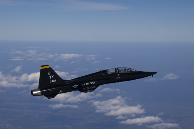 The Air Force awarded a contract on Monday to integrate augmented reality onto the T-38 jet trainer, similar to the one pictured en route to a training range over the Gulf of Mexico. Photo by Master Sgt. Burt Traynor/U.S. Air Force