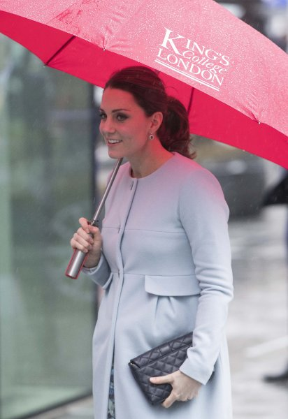 Kate Middleton arrives at the Institute of Psychiatry, Psychology and Neuroscience at King's College London on Wednesday. Photo by Neil Hall/EPA-EFE