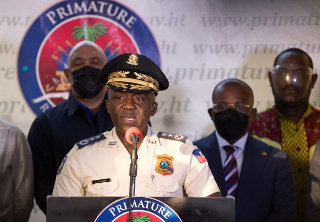 Director of Haitian National Police Leon Charles speaks during a press conference in Port-au-Prince, Haiti, on Sunday. Photo by Orlando Barria/EPA-EFE