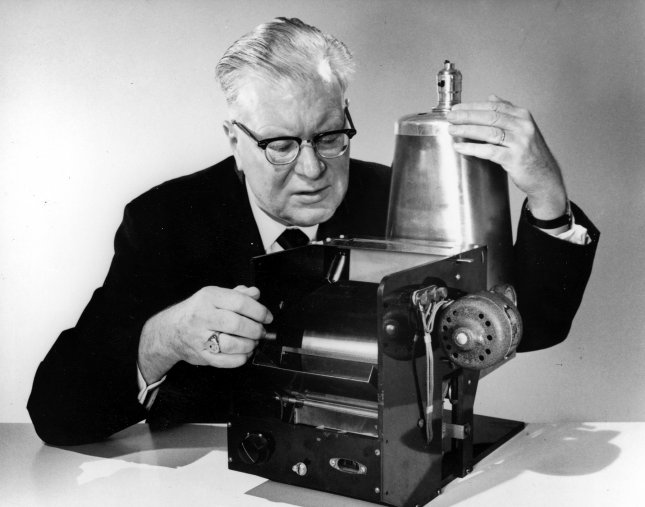 Chester Carlson with the first xerographic apparatus. On Oct. 22, 1938, Carlson produced the first dry, or xerographic, copy. Photo courtesy Xerox