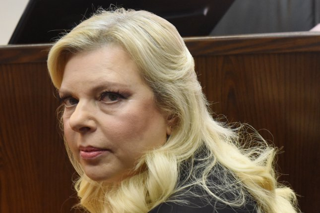 Sara Netanyahu, the wife of Israeli Prime Minister Benjamin Netanyahu, appears in Jerusalem's Magistrate Court on Sunday. Sara Netanyahu attended a hearing on a plea deal over the misuse of state funds for meals at the premier's residence. Photo by Debbie Hill/pool/EPA/UPI