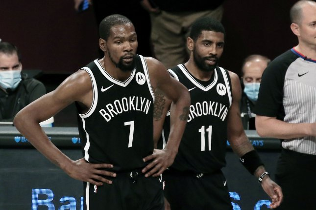 Brooklyn Nets forward Kevin Durant (7) last played for the Nets on Feb. 13 against the Golden State Warriors. He has missed the team's past nine games due to a hamstring injury. File Photo by Peter Foley/EPA-EFE