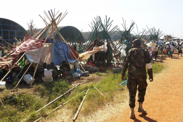 Up to 13,000 South Sudanese civilians sought refuge at a United Nations compounds in Juba, fleeing a budding civil war in 2013. Four years later, the fledgling African nation tops the Gallup list of most-suffering countries. File photo by Julio Brathwaite/UNMISS-UPI